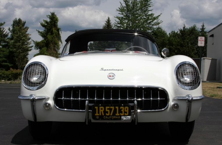 1953Chevrolet Corvette Supercharged Classic Old Vintage Original White USA 3548x2354-05 wallpaper