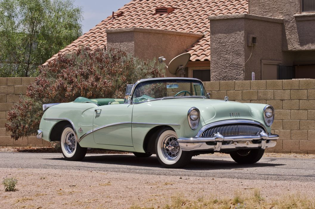 1954 Buick Skylark Convertible Classic Old Retro Street USA 4200x2780-02 wallpaper