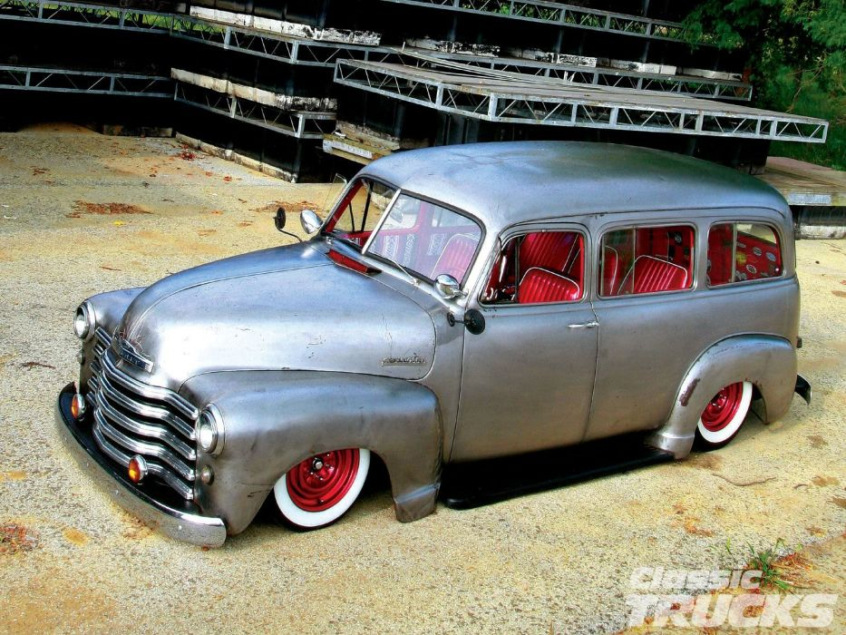 1953 Chevrolet Suburban Bare Meta Hotrod Hot Rod Custom Kustom Old School USA 1600x1200-01 wallpaper
