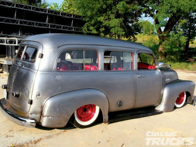 1953 Chevrolet Suburban Bare Meta Hotrod Hot Rod Custom Kustom Old School USA 1600x1200-03 wallpaper