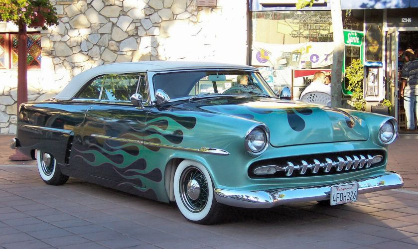 1953 Ford Convertible Chopped Custom Kustom Hotrod Hot Rod Old School USA 2048x1220-01 wallpaper