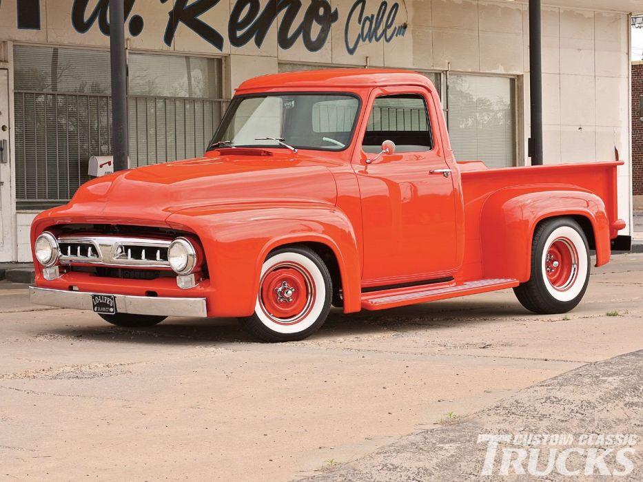 1953 Ford F100 Pickup Hotrod Hot Rod Custom Old School USA 1600x1200-01 wallpaper