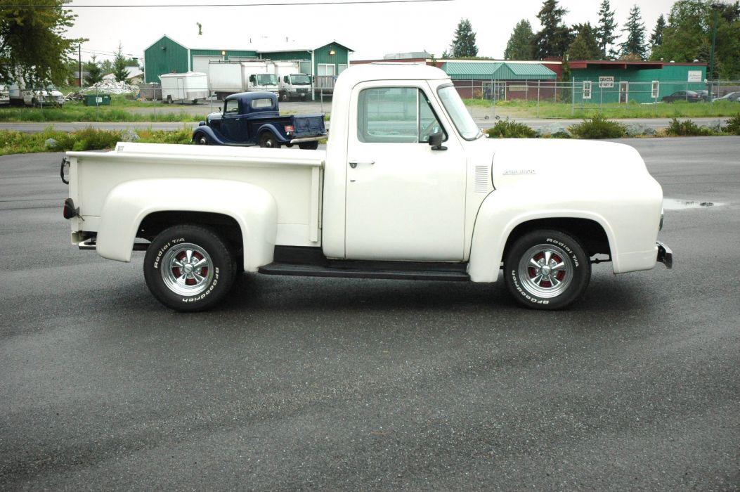1953 Ford F100 Pickup Hotrod Hot Rod Custom Old School White USA 1500x1000-03 wallpaper