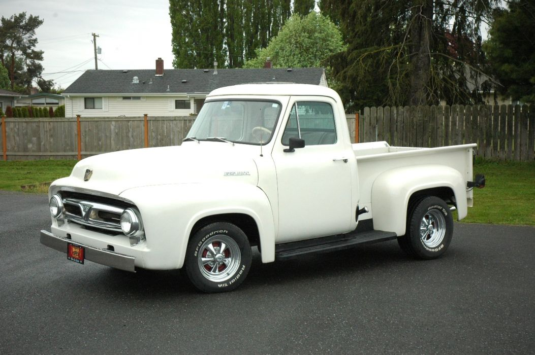1953 Ford F100 Pickup Hotrod Hot Rod Custom Old School White USA 1500x1000-01 wallpaper