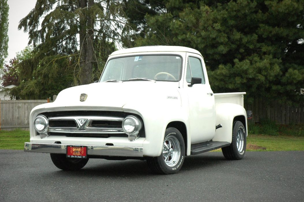 1953 Ford F100 Pickup Hotrod Hot Rod Custom Old School White USA 1500x1000-02 wallpaper
