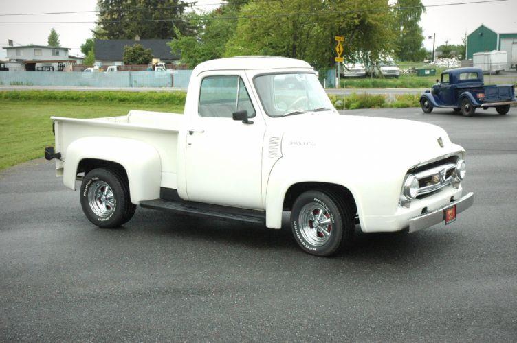 1953 Ford F100 Pickup Hotrod Hot Rod Custom Old School White USA 1500x1000-04 wallpaper