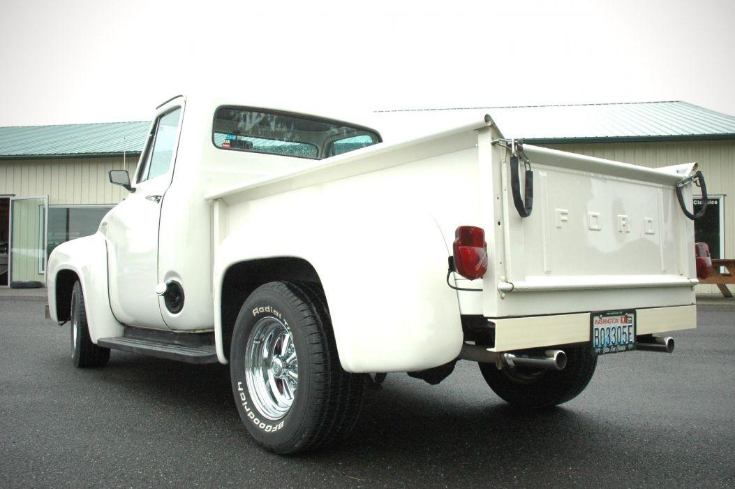 1953 Ford F100 Pickup Hotrod Hot Rod Custom Old School White USA 1500x1000-09 wallpaper