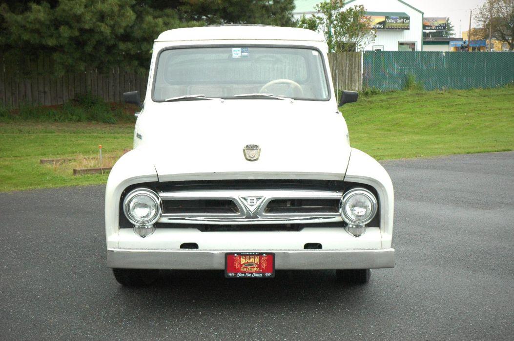 1953 Ford F100 Pickup Hotrod Hot Rod Custom Old School White USA 1500x1000-06 wallpaper