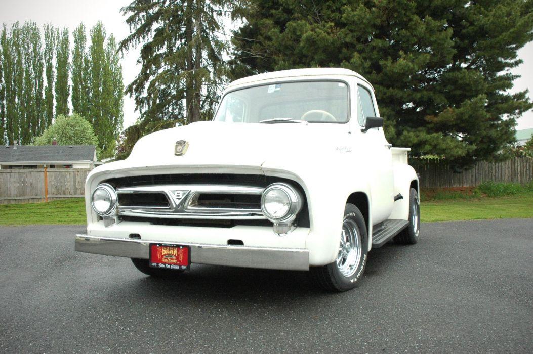 1953 Ford F100 Pickup Hotrod Hot Rod Custom Old School White USA 1500x1000-07 wallpaper