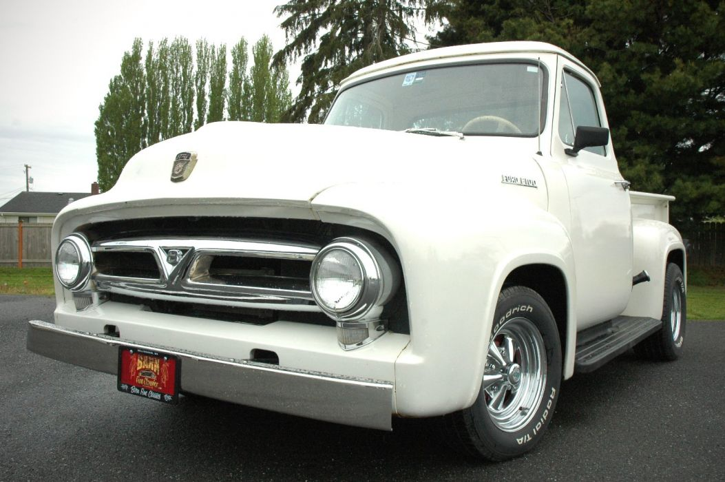 1953 Ford F100 Pickup Hotrod Hot Rod Custom Old School White USA 1500x1000-08 wallpaper