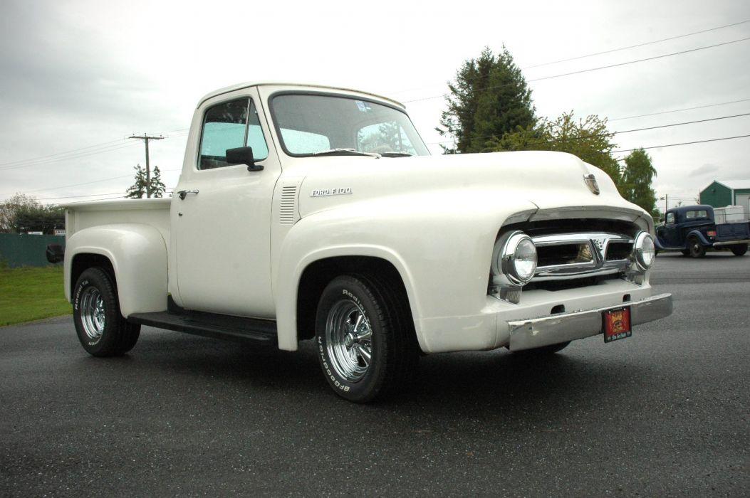 1953 Ford F100 Pickup Hotrod Hot Rod Custom Old School White USA 1500x1000-10 wallpaper