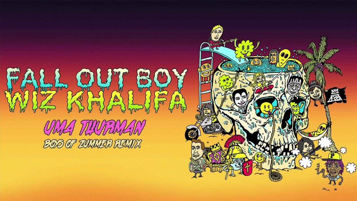 FALL OUT BOY pop punk rock alternative 1fallob concert poster wiz khalifa wallpaper