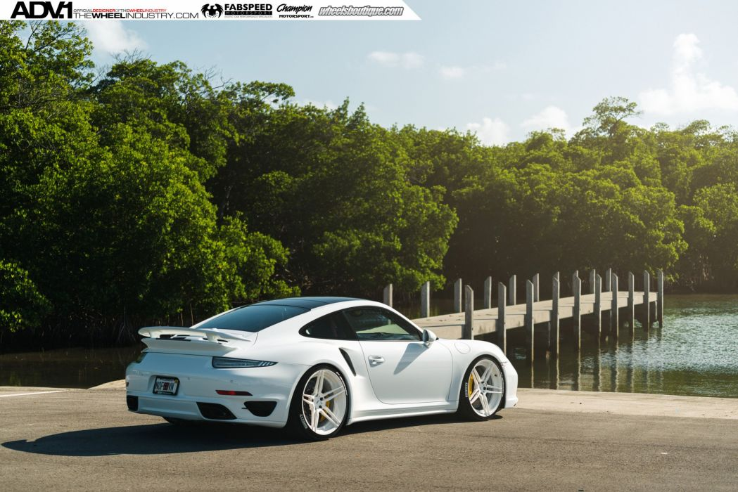 ADV 1 WHEELS PORSCHE 991 TURBO S white tuning 2015 cars wallpaper