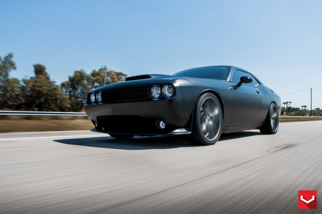 vossen WHEELS Dodge Challenger R-T black tuning cars wallpaper