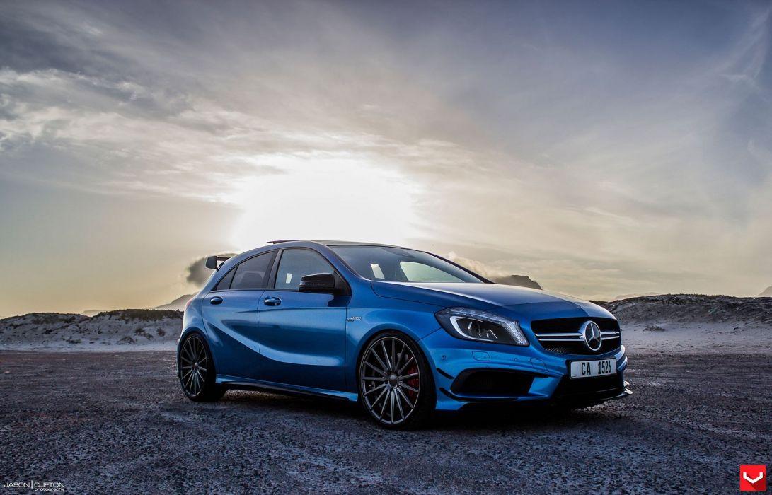 Vossen Wheels Mercedes A45 Amg Blue Tuning Cars Wallpaper