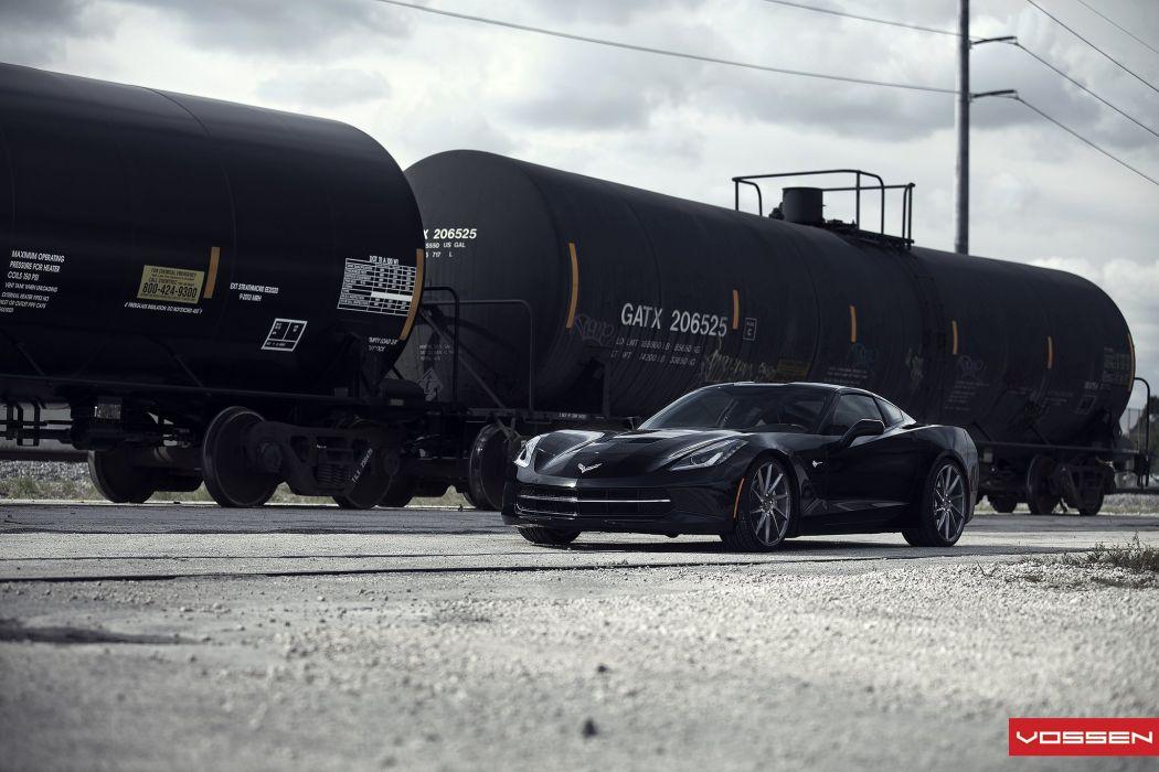 vossen WHEELS Corvette Stingray c7 black tuning cars wallpaper