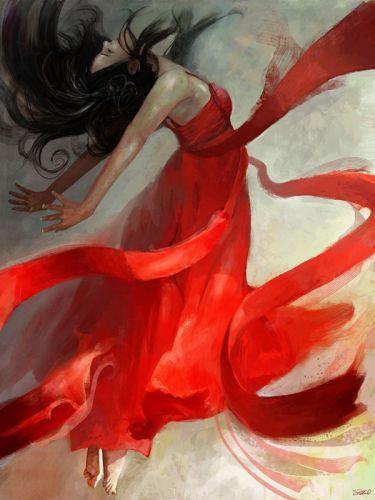 beautiful art oil original color girl red wallpaper