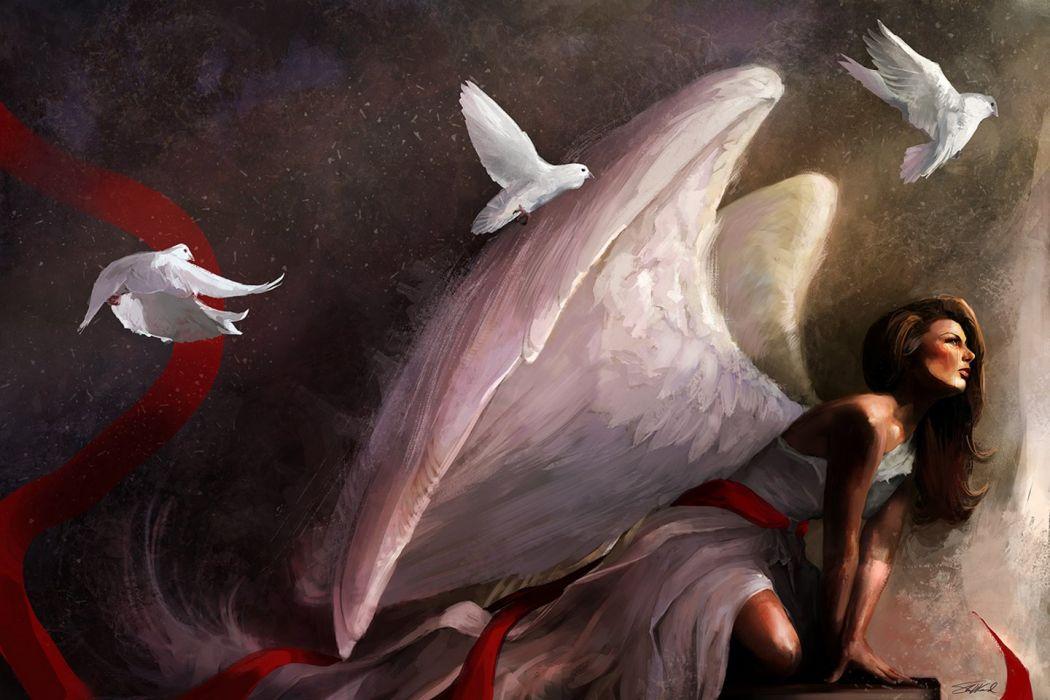 beautiful art oil original color girl red birds animal wings angel wallpaper