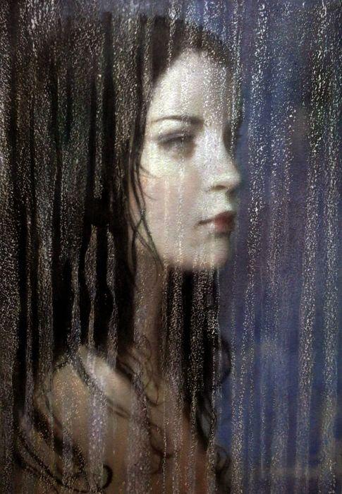 beautiful art original color girl rain face wallpaper