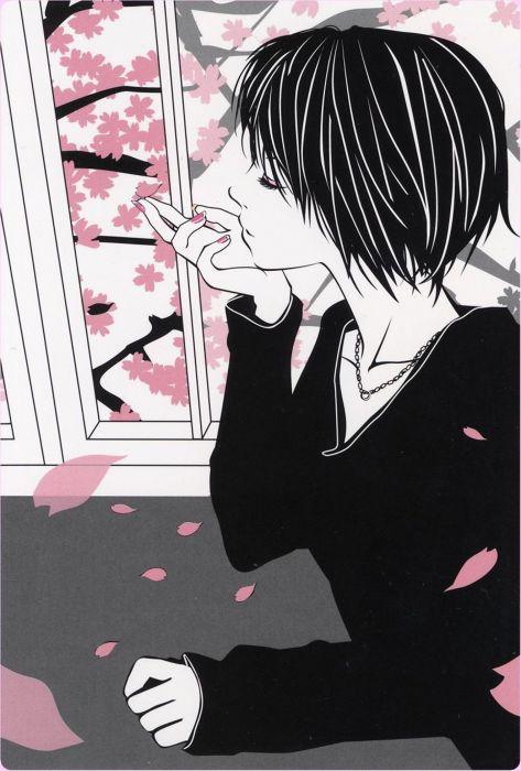 anime girl sakura petals short hair girl beautiful wallpaper
