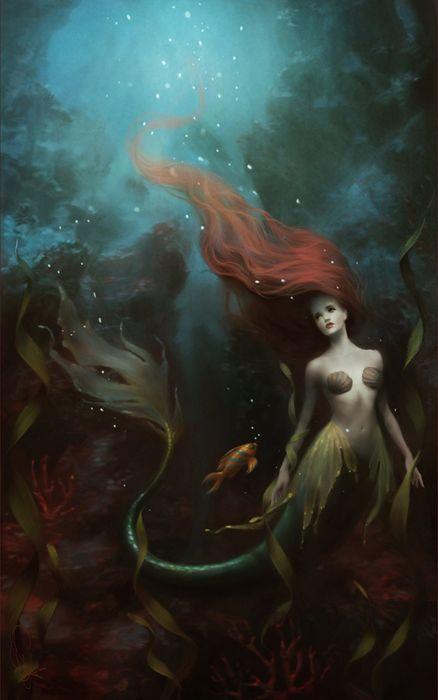 fantasy girl mermaid water long hair wallpaper