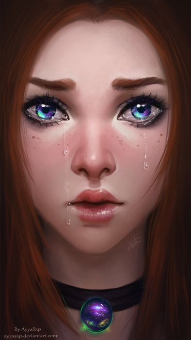 girl face cry blue eyes beautiful fantasy realistic wallpaper