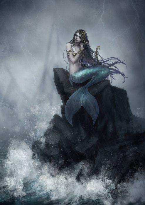 long hair girl fantasy beautiful dress mermaid wallpaper
