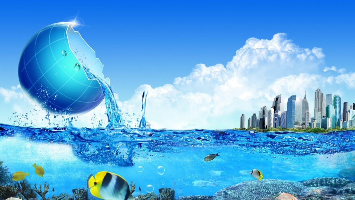 vector fish blue clouds sky city wallpaper