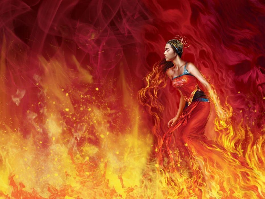long hair girl fantasy beautiful dress red fire wallpaper