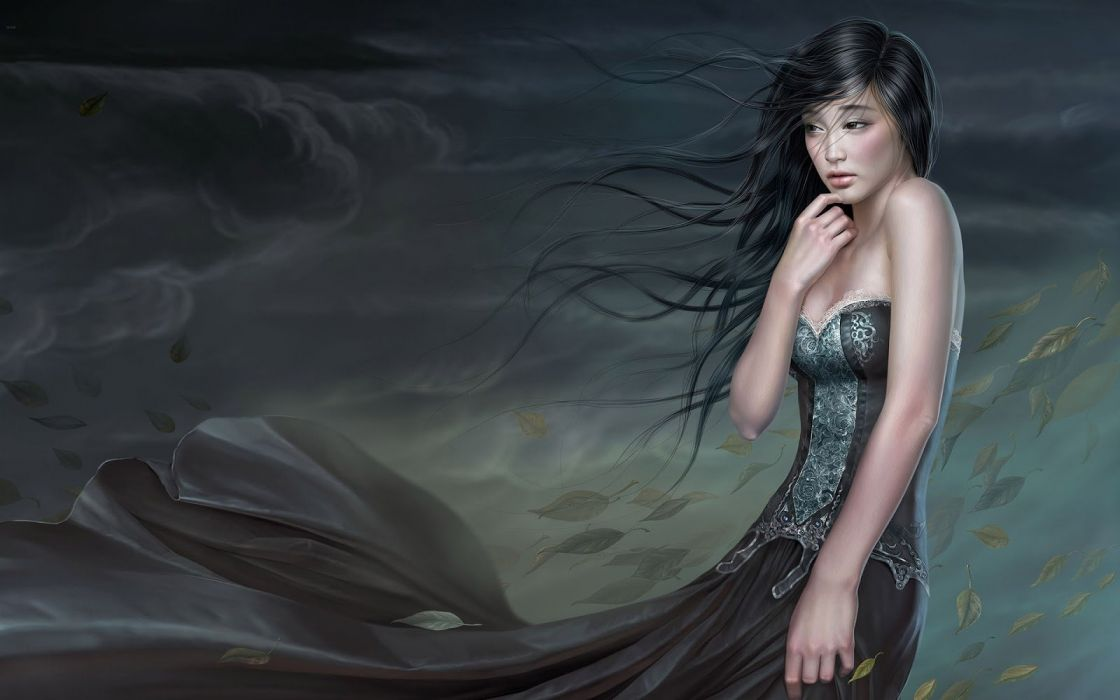 long hair girl fantasy beautiful dress wallpaper