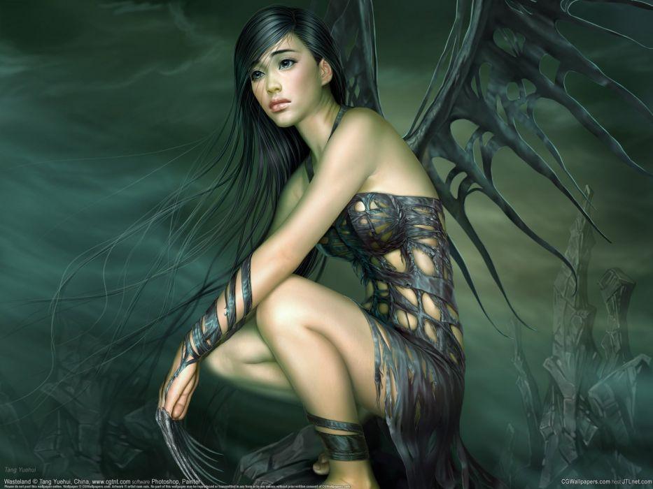 long hair girl fantasy beautiful dress wings wallpaper
