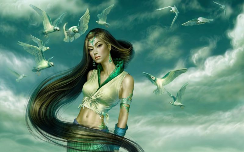long hair girl fantasy beautiful dress birds wallpaper