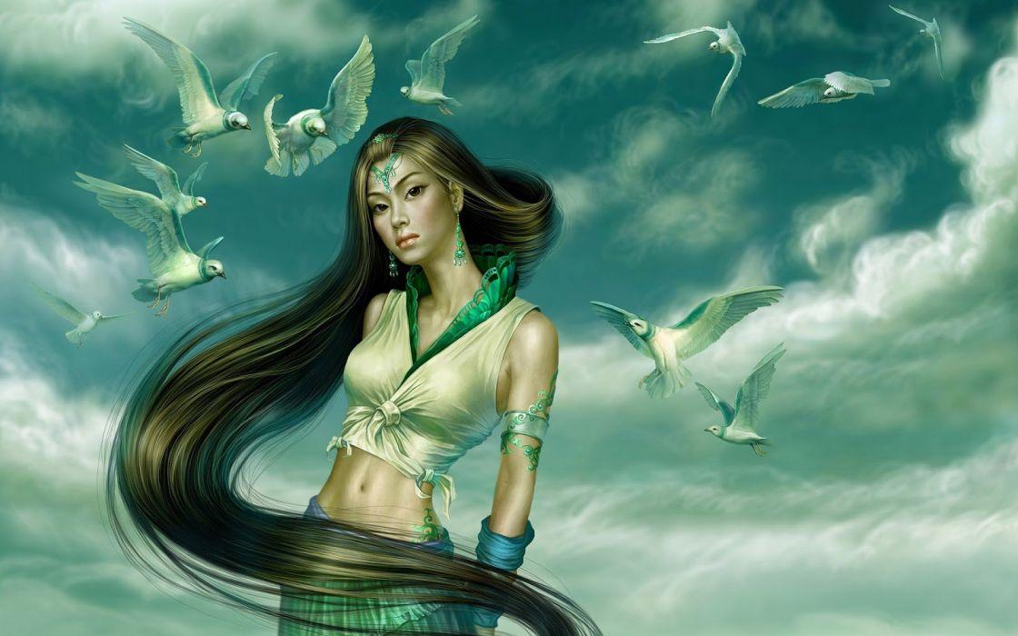 long hair girl fantasy beautiful dress birds wallpaper