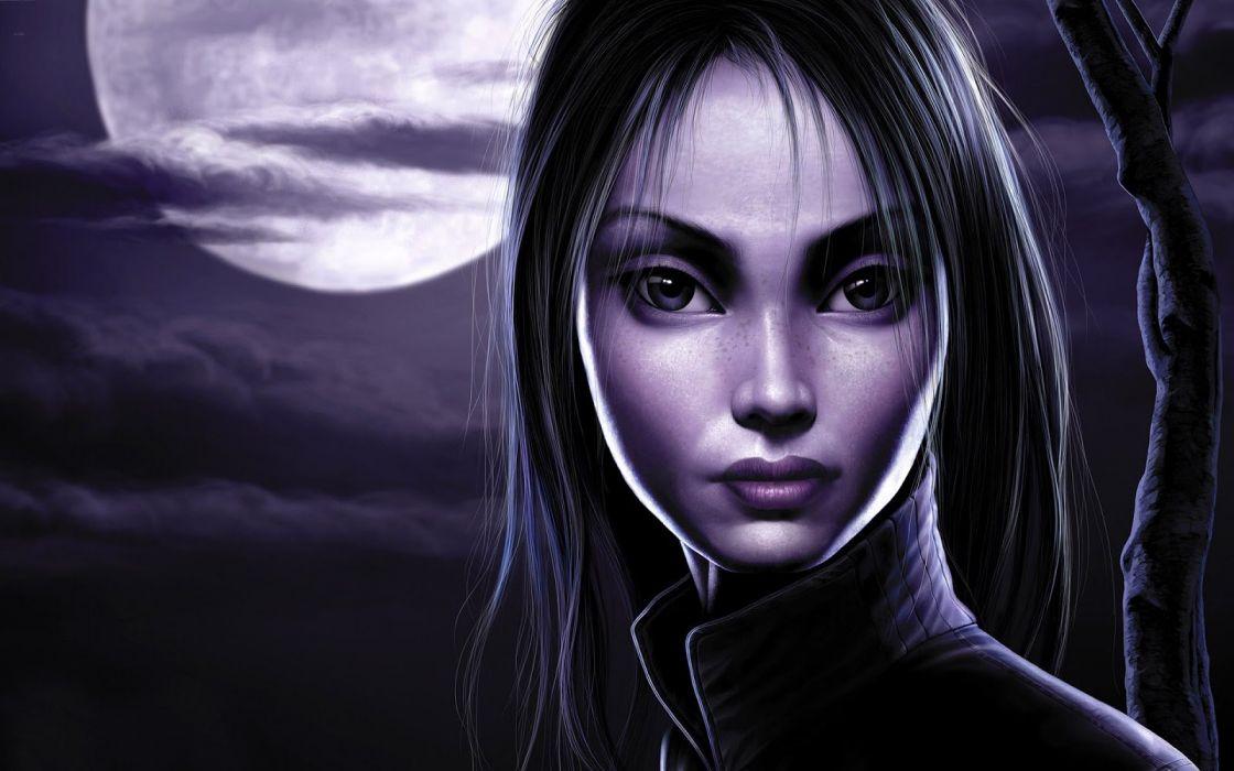 long hair girl fantasy beautiful dark moon night wallpaper