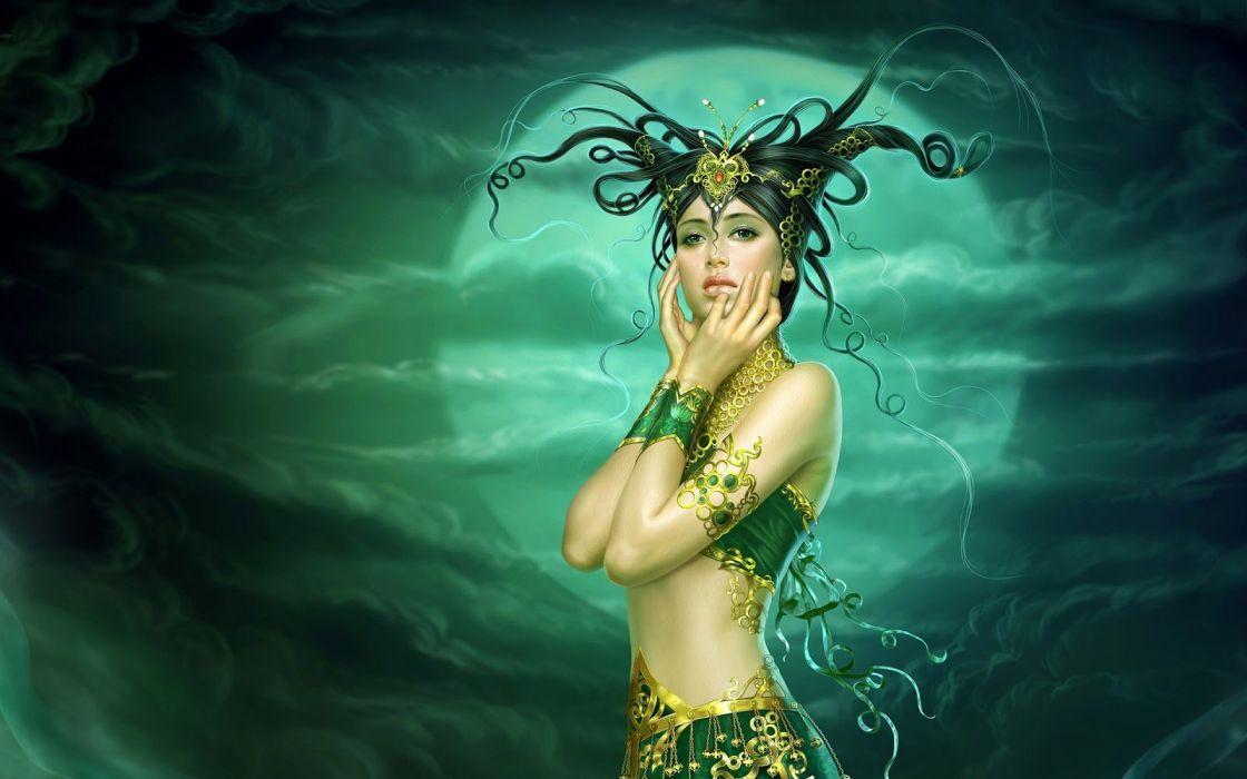 long hair girl fantasy beautiful dress moon wallpaper