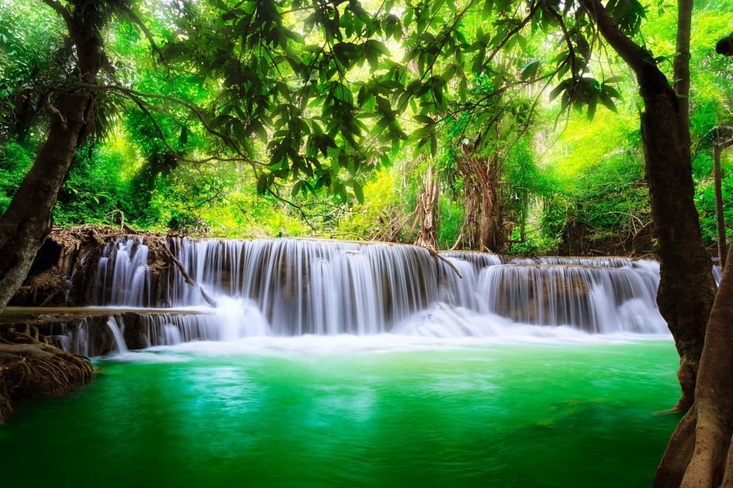 waterfall lakes nature trees jungle water spring landscapes earth beauty wallpaper
