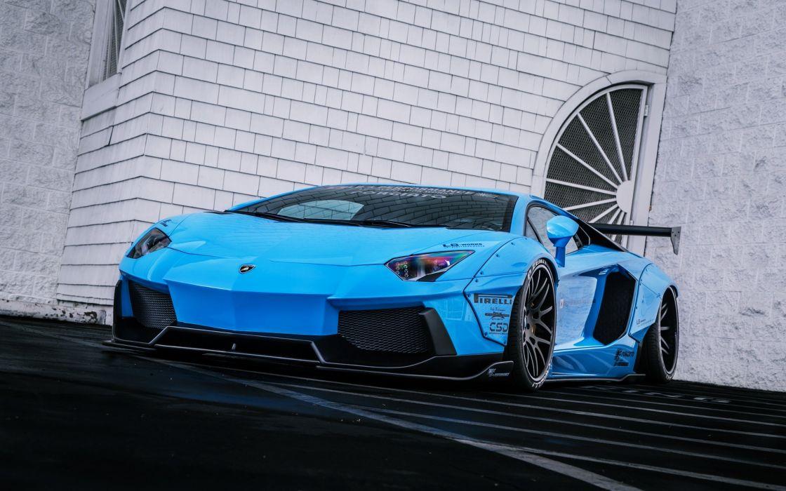 Lamborghini Aventador LP720-4 Liberty LB Perfomance Blue Supercar Rear Doors cars Beam speed motors race wallpaper