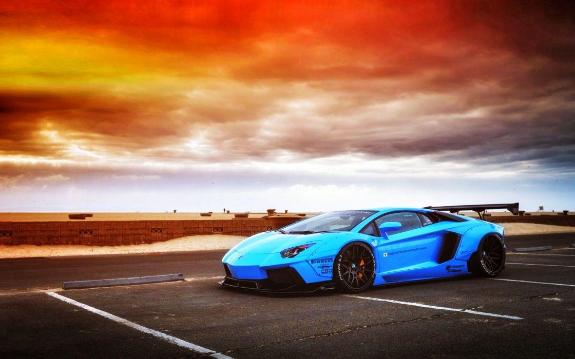 Aventador beam Blue cars doors Lamborghini liberty LP720-4 motors Perfomance Race rear Speed Supercar sky clouds wallpaper