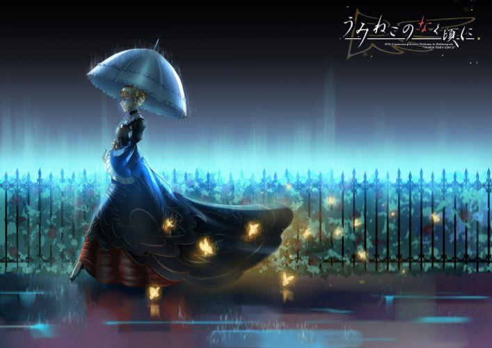 anime series butterfly dress girl rain wallpaper