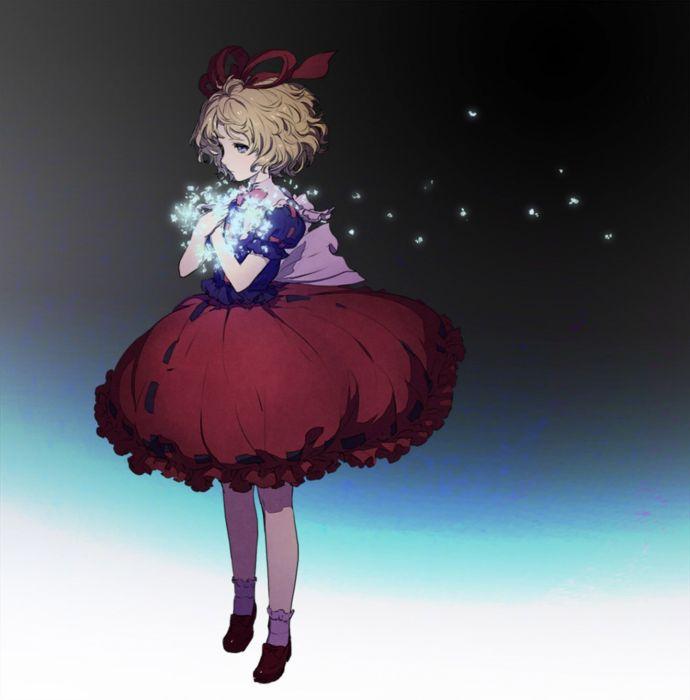 magic touhou dress red short hair anime girl wallpaper