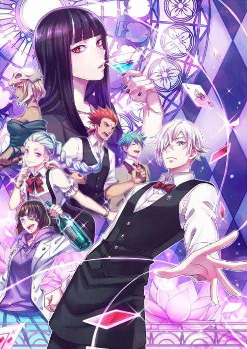 Death Parade anime series couple group long hair girl guy wallpaper
