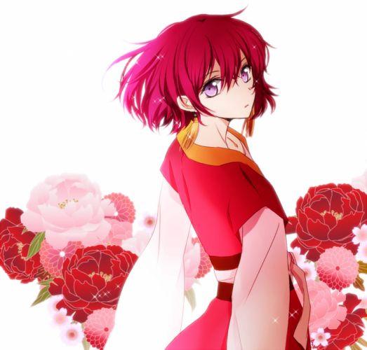 anime girl beautiful kimono short hair flower red wallpaper