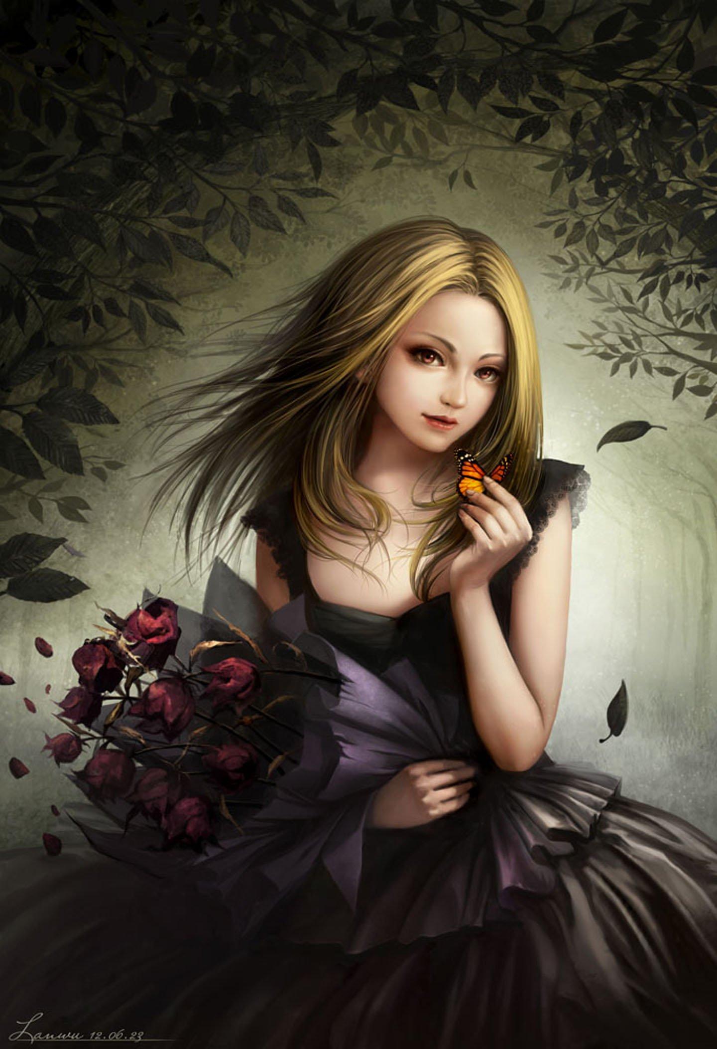 Dress long hair beautiful girl anime flower wallpaper - Beautiful girl anime wallpaper ...