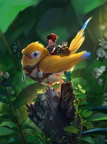 fantasy bird tree cute wallpaper