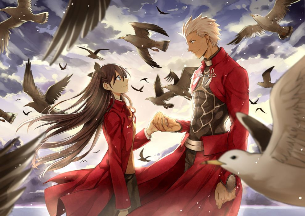dress long hair beautiful girl anime couple series fate stay night wallpaper