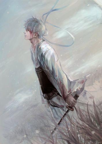 anime series gintama alone samurai sword blood wallpaper
