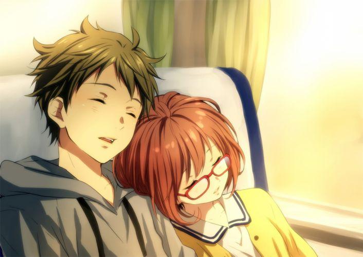 anime series couple sleep girl boy wallpaper