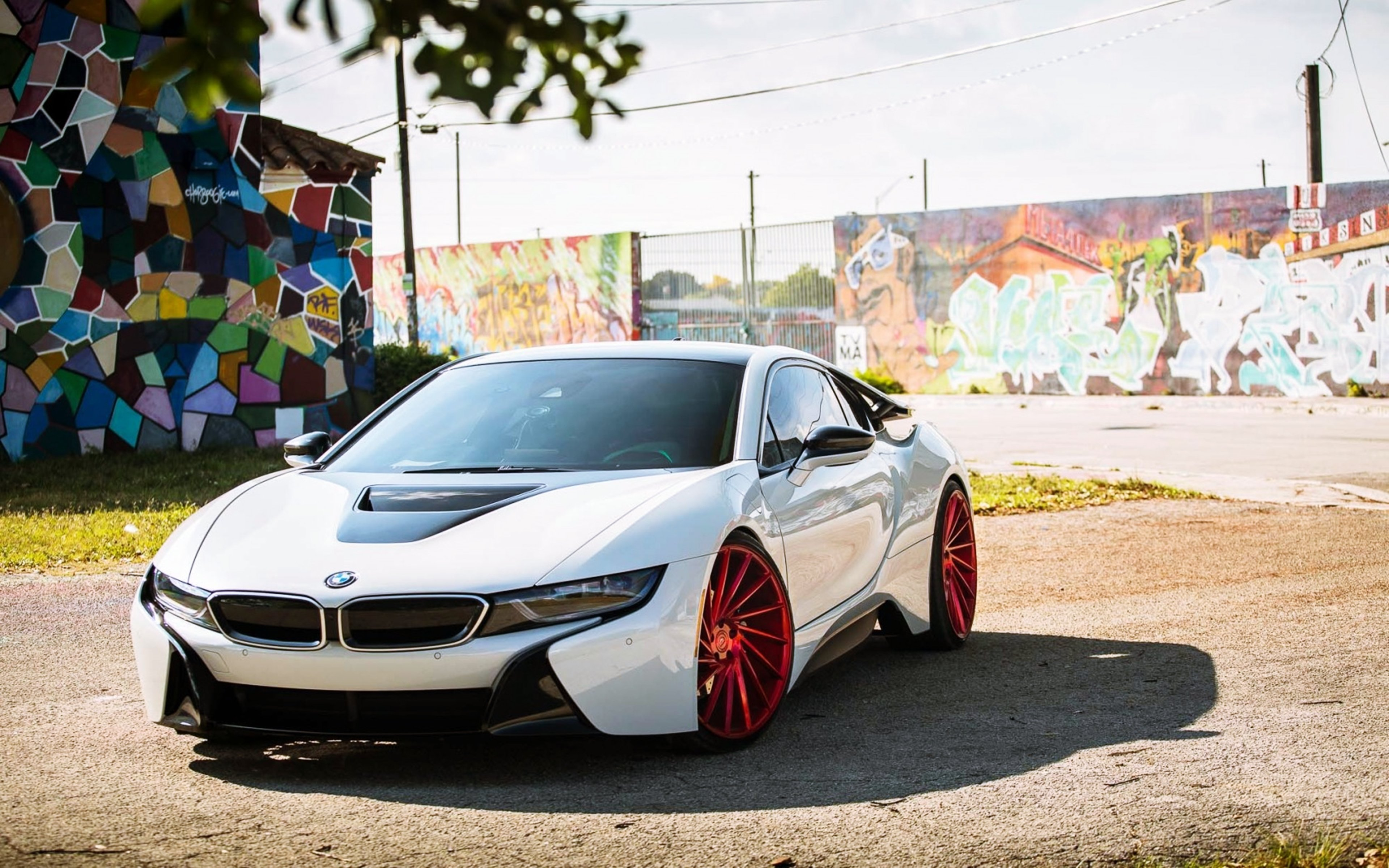 Bmw I8 Electro Cars Tuning White German Wall Drawing City