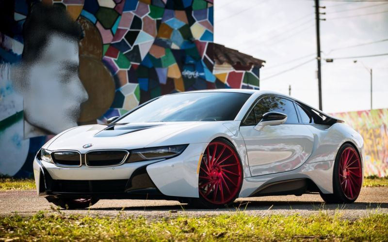 BMW i8 electro cars tuning white german wall drawing city town speed motors wallpaper