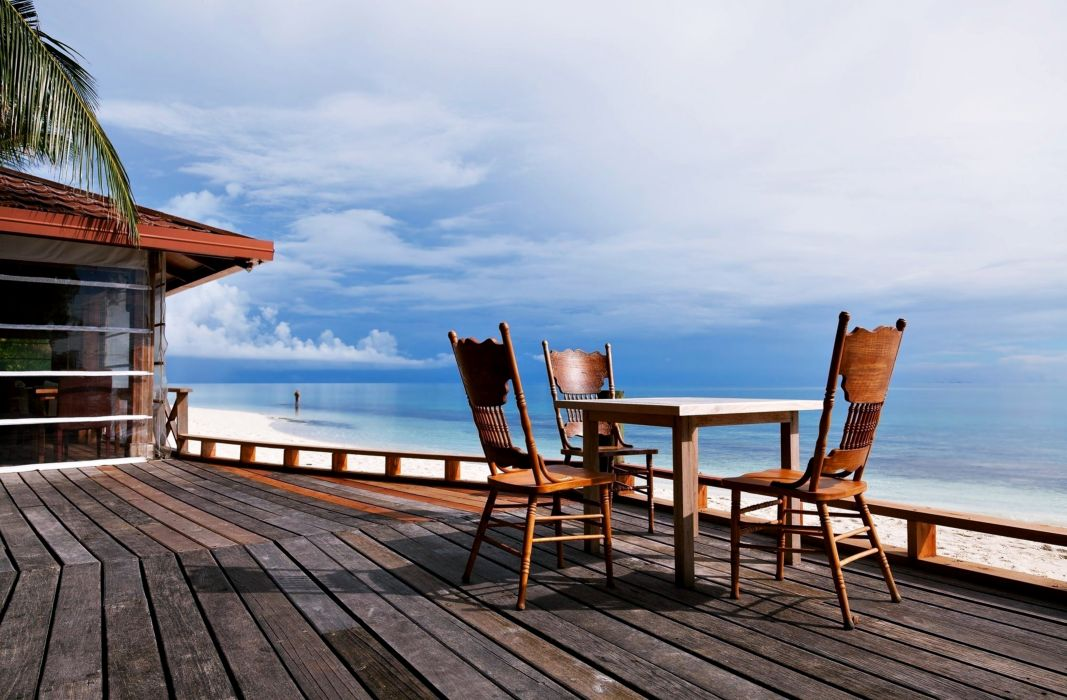 beaches sea clouds holiday summer calm quiet house Resort luxury Wood table chairs nature landscapes earth happy fun wallpaper